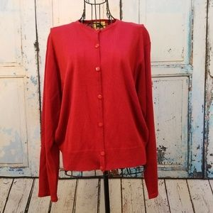 Leslie Fay Sportswear Red Cardigan Sweater Size M